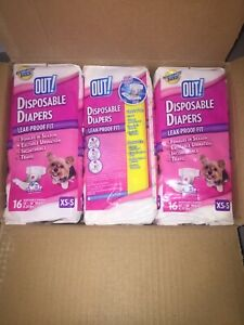 "OUT! 3 x 16 pkg DISPOSABLE DOG DIAPERS XS-S 13-18"" WAIST 4-25lbs"