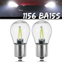 2* 1156 BA15S P21W COB LED Turn Signal Light Reverse Backup Lamp White Bulb 12V