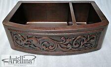"36"" Ariellina 3D Farmhouse 14 Gauge Copper Kitchen Sink Life Warranty New AC1928"