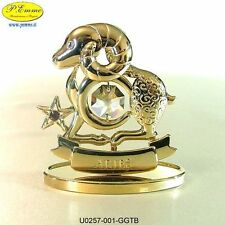 ARIES ZODIAC SIGN GOLD CRYSTOCRAFT SWAROVSKI ELEMENTS - 24K GOLD PLATED