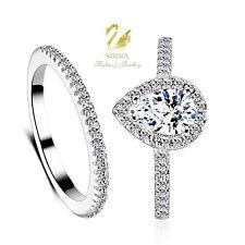 18K White Gold Plated Simulated Diamond Teardrop Engagement Wedding Ring Set