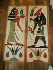 Set 2 Vintage Canvas Linen Wall Panel Tapestry Egyptian Motif Patchwork Quilt