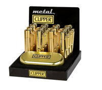 GENUINE CLIPPER GOLD METAL LIGHTER WITH GOLDEN METALLIC TIN  CMP11R