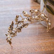 Vintage Wedding Bridal Black Gold Headband Crown Tiara Hair Accessories Jewelry