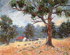 Oil Painting Australian Artist Enoch Hlisic Original Impressionist OLD FARM
