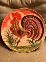 VTG SARA Hand Painted ROOSTER Platter Wall Plate Art Pottery Italy Hand Made 16""