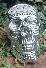 Super Plata Brillante se Cráneo Cráneo Resina Ornamento Mille Bling grandes