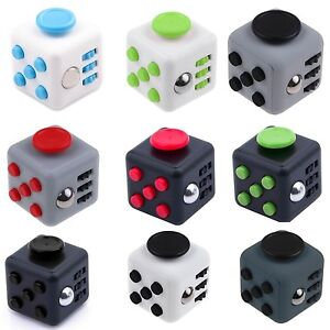GREEN/WHITE Magic Fidget 6-Side Cube Anxiety Stress Relief Spinner Adults Kids