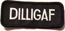 #0008 MOTORCYCLE VEST PATCH DILLIGAF  (LOT OF 25 PATCHES) PRICE: $25.00 or $1.00