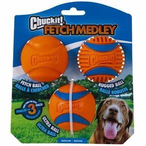 Chuckit Ultra Ball Medley 3 Pack Medium Dog Balls Rugged Durable Rubber Fetch