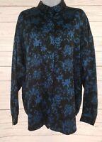 Diane Von Furstenberg Blouse Sz 16 Women Black Blue Floral Long Sleeve Career
