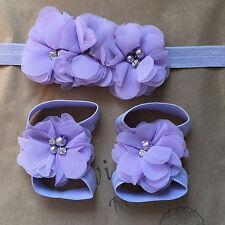 Newborn Baby Girl Infant Purple Lilac Headband Foot Flower Elastic Accessories