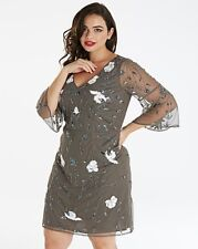 Maya courbe Floral Embelli Robe plissé manches Gris Taille UK 20 DH170 LL 07