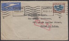 South Africa 1945 airmail cover to USA OAT [Onwards Air Transmission] England