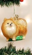 OLD WORLD CHRISTMAS POMERANIAN DOG GLASS CHRISTMAS ORNAMENT 12346 A