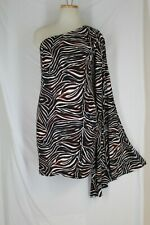 TRINA TURK One Shoulder Dress SMALL Black Brown Zebra Stripe Mini Short Flare SL
