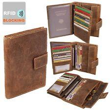 Herren Leder Brieftasche RFID große Geldbörse Reisepass Geldbeutel Kartenfächer