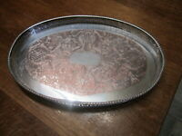 Old Antique Oval Silver Plate Viners of Sheffield Tray Copper Chased Finish
