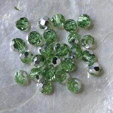 25 FACETTES RONDES  -  Cristal de Bohême  -  4 MM  - PÉRIDOT COMET ARGENT