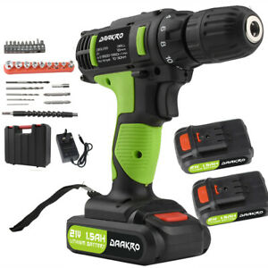 21V Electric Cordless Hammer Impact Power Drill Screwdriver+ 2 Battery+Charger