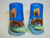 Gorgeous Hand Painted Country Scene Salt Pepper Shaker Set