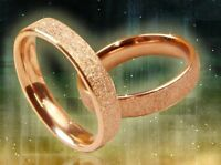 """4mm Deluxe Stainless Steel """"FROSTED ROSE GOLD"""" Women's Band Ring-w/Gift Pouch"""