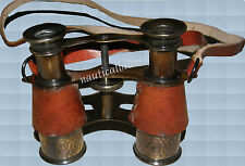 BRASS LEATHER BINOCULAR ROUND POCKET TELESCOPE MARITIME ANTIQUE REPRODUC