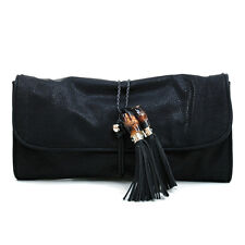 New Women's Handbag Bohemian Inspired Faux Leather Clutch Bag Medium Purse Black