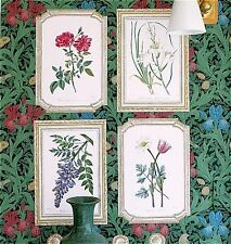 WALLIES BOTANICAL PRINTS wall stickers 5 big prepasted framed decals flowers