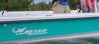 -2- MAKO BOAT WHITE Vinyl Decals Sticker PAIR Ski Wakeboard Sun Bass TRACKER W@W