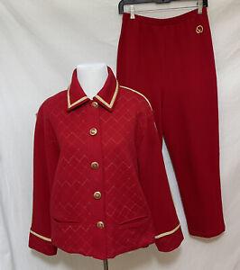 St. John Sport 2Pc Red Stretch Cotton Studded Jacket & Pant Suit sz Small