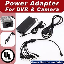DC 12V 5A Power Supply Adapter +8 Split Power Cable for Zmodo UL EMI