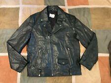 Topman black biker moto jacket 100% leather motorcycle coat XXL mens NEW