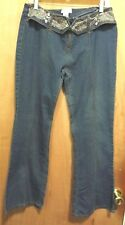 Juke Box Hippy Bell Bottom Embroidered Front Zipper Blue Denim Jeans Size 13/14