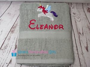 Personalised Towel, Kids Grey Swim/Bath Unicorn Towel (Choice of colours)