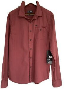 Men's NWT Size L Mossimo Carter Long Sleeve Brick Casual Cotton Shirt