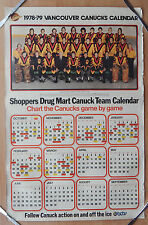 1978-79 VANCOUVER CANUCKS TEAM CALENDER BIG RARE POSTER 24X37 SHOPPERS DRUG MART
