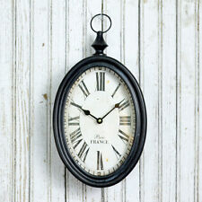 Shabby Cottage Chic Iron Oval Black and White Wall Clock
