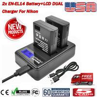 2x EN-EL14 Battery+LCD DUAL Charger for Nikon Coolpix D3100 D5100 P7000 P7800