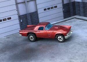 🔥Vintage Hot Wheels Mattel 57 T bird No Porthole Metallic Red🔥