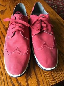 COLE HAAN mens canvas shoes RED worn once size 10 uk, 11 usa lace ups brogue sty