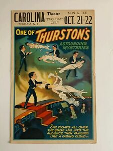 Thurston SHE FLOATS ORIGINAL 1930's Lithographic Window Card Poster
