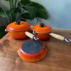 VTG Le Creuset Saucepans 18,16,14 Enameled Cast Iron Frying Pan Flame Orange