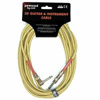 """Guitar Cable - 20 ft Instrument Cable - 1/4"""" Cable w/ Right Angle Jack, Braided"""