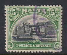 MALTA-1930 5/- Black & Green Sg208 - fine used