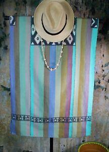 M/L Huipil Wide Stripes Dress Handwoven Backstrap Loom Mayan Chiapas Mexico