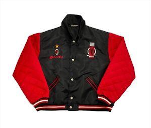Vintage 1990s A.C. Milan Lotto Satin Bomber Jacket Retro Varsity Style M/L Rare