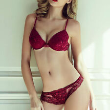Women Lace Bra And Panty Sets Underwire Plunge Push Up Bra / Thin Lace Knickers