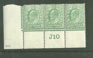 KEVII 1902 DLR 1/2d  strip of 3 with control number  ( J10) .  Mint.