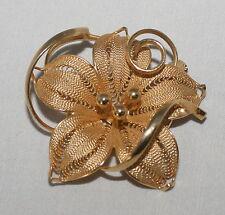 "1 3/4"" Goldplated Filigree Flower Pin Brooch Tendrils"